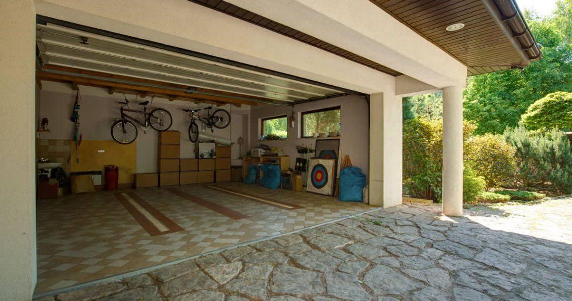 clean double car garage