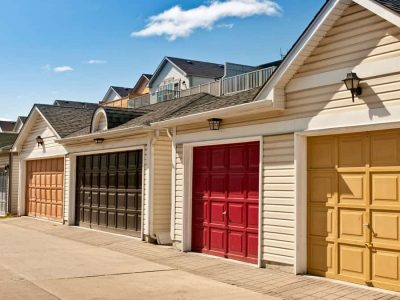 color-garage-doors-row-of-parking-garages